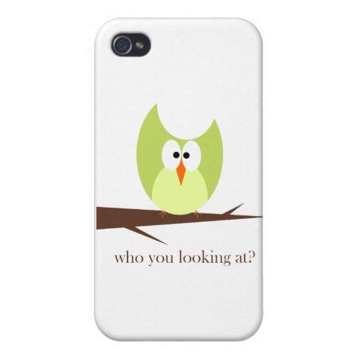quién usted que mira verde iPhone 4/4S carcasas