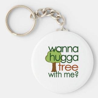 ¿Quiera al árbol de Hugga conmigo? Llaveros Personalizados