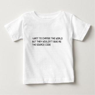 Quiera cambiar el mundo pero ningún código fuente camisas