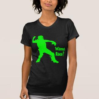 Quiera competir con, verde del neón camisetas