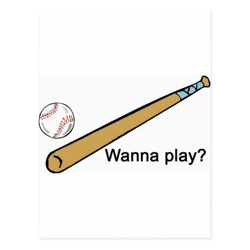 ¿Quiera jugar a béisbol? Postal