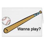 ¿Quiera jugar a béisbol? Tarjeton