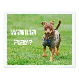 """¿Quiera jugar? Invitación 4.25"""" X 5.5"""""""
