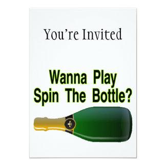 """Quiera jugar vuelta la botella invitación 5"""" x 7"""""""