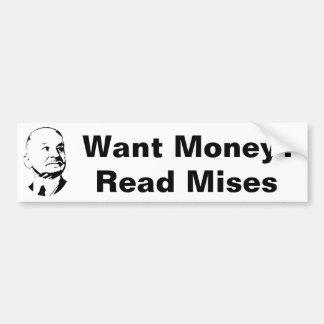 Quiera la economía leída dinero del austriaco de M Etiqueta De Parachoque