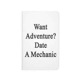 Quiera la fecha de la aventura un mecánico cuaderno