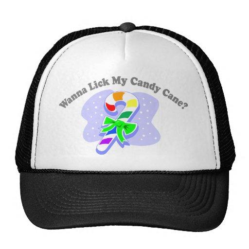 ¿Quiera lamer mi bastón de caramelo? (Bastón de ca Gorro