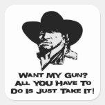 Quiera mi arma todo lo que usted tiene que hacer calcomanías cuadradass