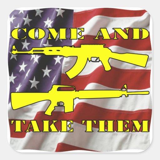 Quiera mis armas vienen y les toman Molon Labe Pegatina Cuadrada