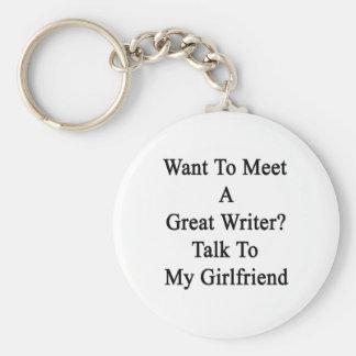 Quiera resolver una gran charla del escritor a mi llavero personalizado