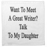 Quiera resolver una gran charla del escritor a mi  servilleta