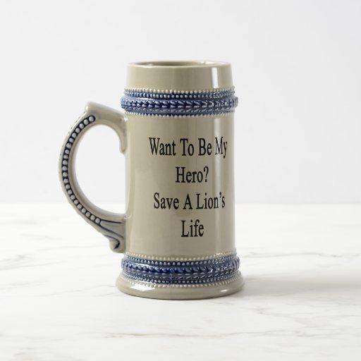 Quiera ser mi reserva del héroe la vida de un león tazas de café
