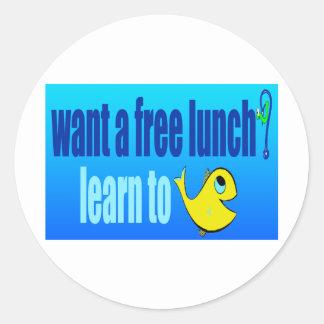 ¿quiera un almuerzo libre? aprenda pescar pegatinas redondas
