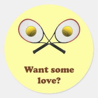 Quiera un cierto tenis del amor pegatina redonda