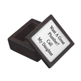 Quiera una gran llamada del fontanero mi hija caja de recuerdo de calidad