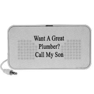 Quiera una gran llamada del fontanero mi hijo laptop altavoz