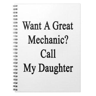 Quiera una gran llamada del mecánico mi hija libro de apuntes