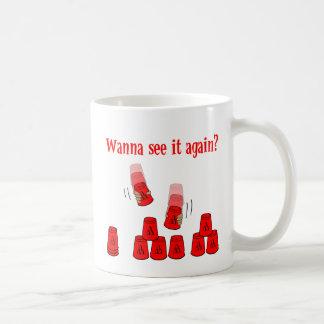 quiera ver, rojo taza básica blanca
