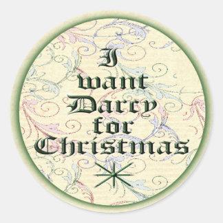 Quiero a Darcy para el navidad Pegatina Redonda