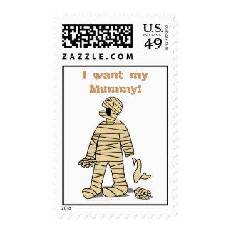 Quiero a mi momia divertida Halloween de la momia Estampilla