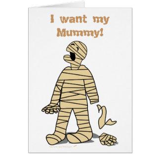 Quiero a mi momia divertida Halloween de la momia Tarjeta De Felicitación