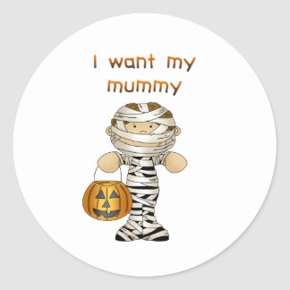 Quiero a mi momia pegatina redonda