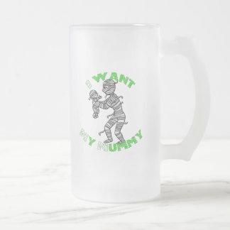 Quiero a mi momia taza de cristal