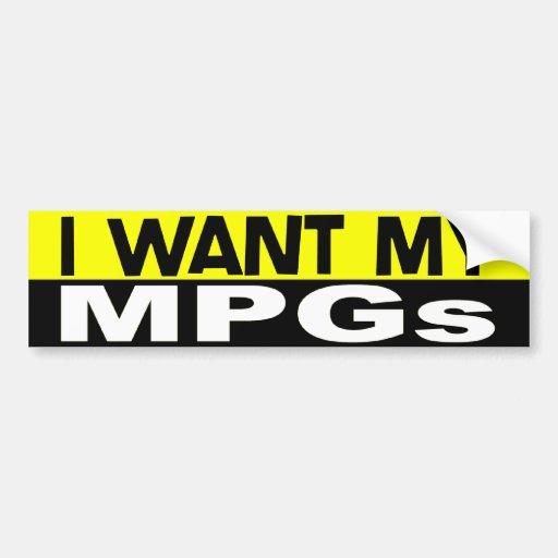Quiero a mi pegatina para el parachoques de MPGs Pegatina De Parachoque