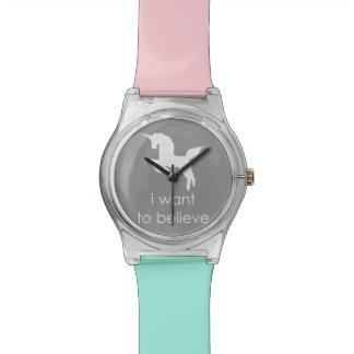 quiero creer en unicornios reloj de mano