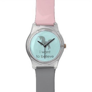 quiero creer unicornio reloj de mano