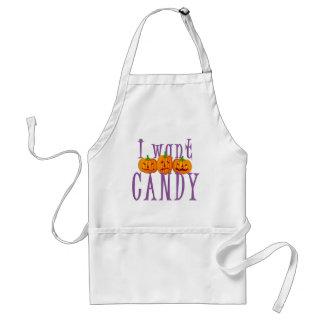 Quiero el caramelo Jack O'Lantern Halloween Delantal