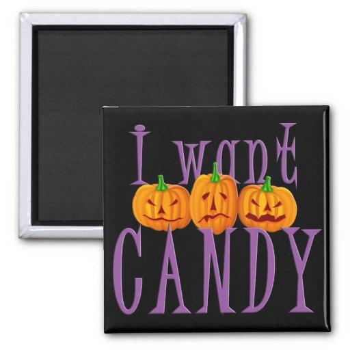 Quiero el caramelo Jack O'Lantern Halloween Imán Cuadrado