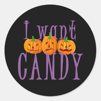 Quiero el caramelo Jack O'Lantern Halloween Pegatina Redonda