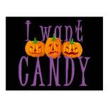 Quiero el caramelo Jack O'Lantern Halloween Postal