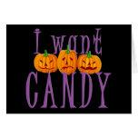 Quiero el caramelo Jack O'Lantern Halloween Felicitación