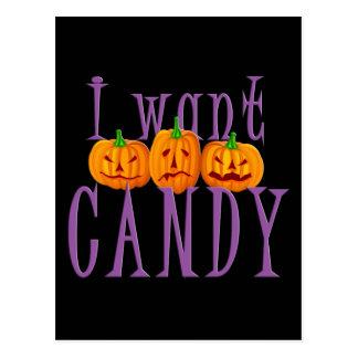 Quiero el caramelo Jack O'Lantern Halloween Tarjetas Postales