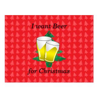Quiero la cerveza para el navidad postales