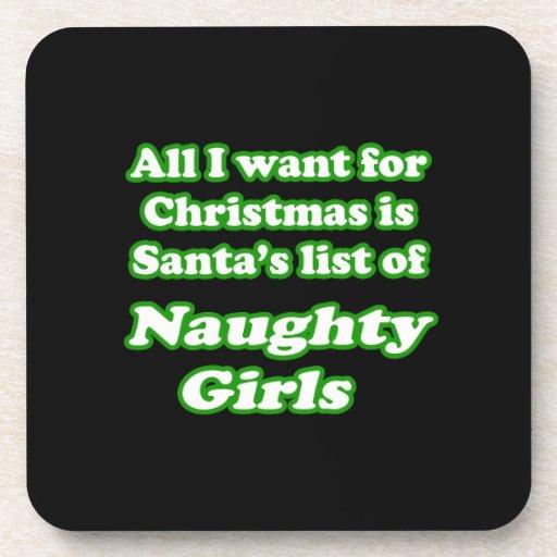 Quiero la lista de Santa de chicas traviesos Posavasos De Bebidas