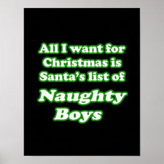 Quiero la lista de Santa de muchachos traviesos Póster