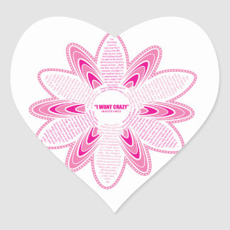 Quiero la margarita loca, rosada pegatina en forma de corazón