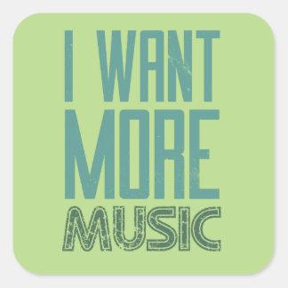 Quiero más música pegatina cuadrada