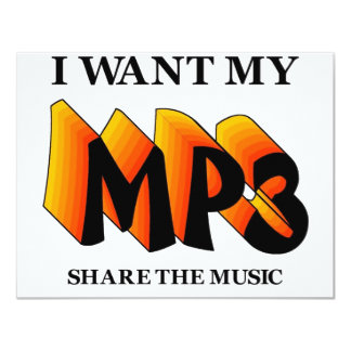 """Quiero mi MP3 Invitación 4.25"""" X 5.5"""""""