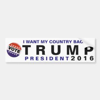 Quiero mi parachoque político del triunfo 2016 de pegatina para auto