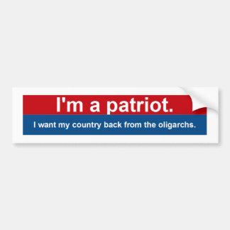 Quiero mi parte posterior del país de los oligarca pegatina para auto