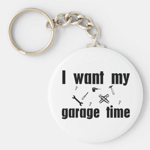 Quiero mi tiempo del garaje llavero personalizado