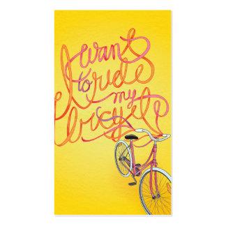 Quiero montar mi bicicleta - tarjeta de visita