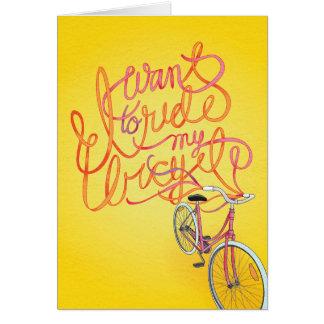 Quiero montar mi bicicleta - tarjeta en blanco