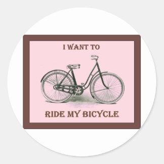 Quiero montar mi poster de la bicicleta del pegatinas redondas