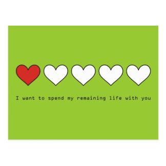 Quiero pasar mi vida restante con usted tarjeta postal