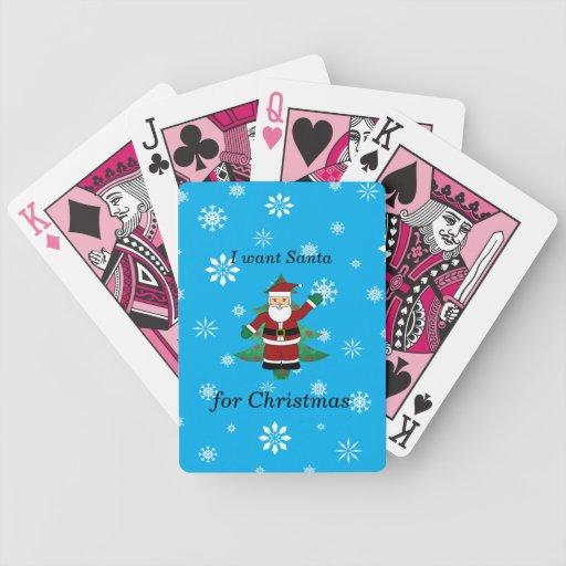 Quiero santa para el navidad baraja de cartas